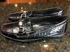 GEOX Wo's 8 Eu 38 Black Patent Croc Embossed Rhinestone Horsebit Loafer
