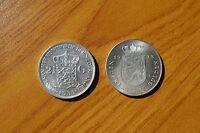 LOTTO 2 MONETE OLANDA NEDERLAND JULIANA WILHELMINA 10 2 1/2 GULDEN 1939 ARGENTO