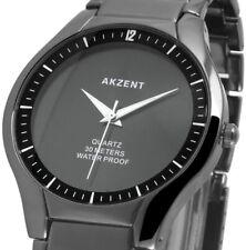 Herrenuhr Quarz Armbanduhr edel elegant Schwarz Keramiklook 3ATM 280/050 AKZENT