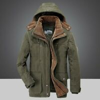 Mens Casual Hooded Winter Slim Warm Jacket Cotton Trench Parka Outwear New Solid