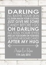CANDY – PAOLO NUTINI - Wedding Anniversary First Dance Personalised Print A4