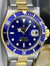 ROLEX - Mens 18kt Gold & Stainless Submariner Blue Index SEL 16613 - SANT BLANC