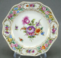 Carl Thieme Dresden Hand Painted Reticulated Floral & Gold Bread Plate K