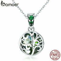 BAMOER S925 Sterling Silver Necklace Tree Life Pendant With CZ For Women Jewelry