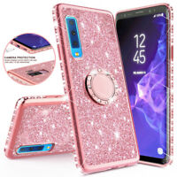 For Samsung Galaxy A7 2018 A6 A8 Plus Glitter Bling Kickstand Ring Bumper Cover