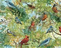 FAT QUARTER FABRIC  BIRDS BIRD COTTON  CARDINALS ROBINS BLUE BIRD  DWELLINGS  FQ