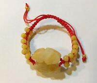 Macrame Adjustable Woven Jade Bracelet in Pixiu Dragon Charm in Yellow Jade bead