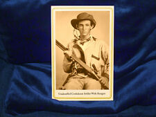 JOHNNY REB Unidentified Confederate Cabinet Card Photo W/ Shotgun CDV Civil War