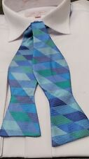 SELF TIE BOW TIE BLUE / GREEN 100% PURE SILK  (Boxed with instructions)