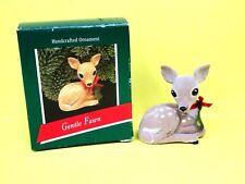 Vintage Hallmark 1989 Flocked Gentle Fawn Ornament w/Box* Used Adorable
