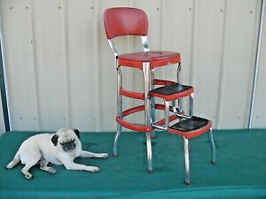 Vintage 1950's Red Cosco Chrome Kitchen Step Farm Chair Stool Plant Stand