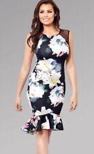 New Jessica Wright Floral Frill Midi Bodycon Dress Harmony Multi UK 16 RRP£65