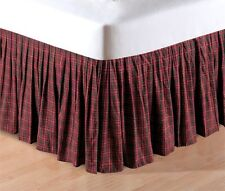 BURGUNDY RED GREEN PLAID ** King ** BEDSKIRT : CABIN LODGE DUST RUFFLE BED SKIRT