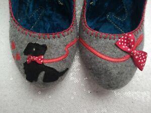 IRREGULAR CHOICE size 5 Grey Scottie Dog Felt Appliqué rockabilly heels