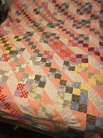 Vintage Pieced Quilt Top 69 1/2 By 81 1/2 Some Pieces Have Been Pieced