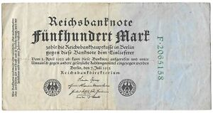 Germany 500 Mark Banknote Date-1922