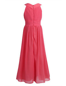 Kid Girls Party Long Chiffon Dress Dance Pleated Wedding Bridesmaid Pageant Gown
