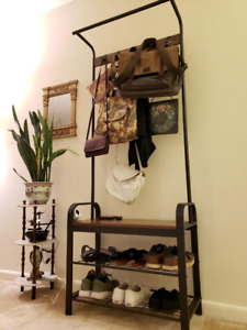 Industrial Coat Clothes Rack Stand Unit Hall Tree With Shoe Bench Vintage Wooden