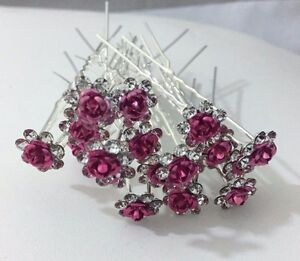 20 x Stunning Diamante Floral Hair Pins Bridal Wedding Available In Many Colors
