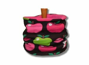 Winter Loop Schlupfschal Halssocke Äpfel Rosa Pink mit Fleece Handmade ♥ Neu ♥
