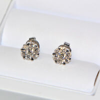 Diamant Ohrstecker 0,92 ct in 750er Weissgold (18K) Pavé Ohrringe Illusion rund