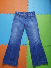 DOJO Seven 7 For All Mankind Women's Distressed Jeans Sz29 Wide Leg Flare Blue