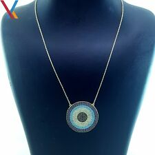 14K Gold Plated 925 Sterling Silver Turkish Jewelry Evil Eye Necklace CZ 18'' N7