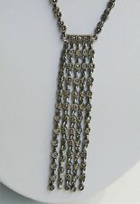 "Oxidized 16-18"" Sterling Silver Marcasite Waterfall Style Link Necklace"