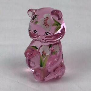 Fenton Bear Friends Forever Pink Translucent Hand Painted Signed USA