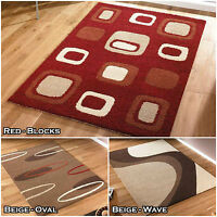 QUALITY LUXURY MODERN SOFT RED BROWN BEIGE RUGS THICK CLEARANCE DISCOUNT SALE