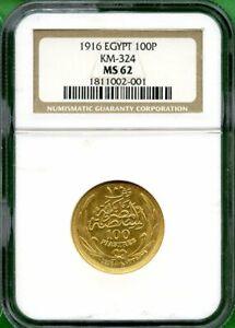 EGYPT  1916  NGC MS 62    GOLD  100 P  KM 324
