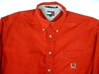 Vintage Tommy Hilfiger Mens Large Red Corduroy Button Down Shirt Lion Crest Logo