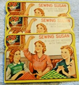 SEWING SUSAN PACKETS OF 4 SILVER EYE NEEDLES  (B)