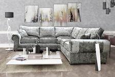 Tango Large Corner Sofa Silver Fabric Luxury Crushed Velvet