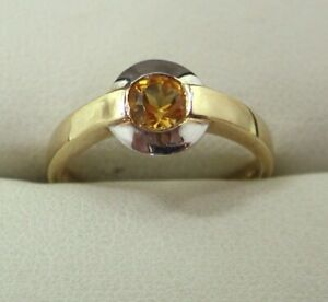 Lovely Two Colour 9 carat Gold Citrine Solitaire Ring Size M.1/2