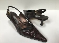 Diane B. Size 7 Brown Snakeskin & Patent Leather Sling Back Kitten Heel Pumps