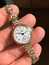1930/40s Record Pre Longines Ladies Watch Enamel Dial 9k Solid Gold Case Swiss