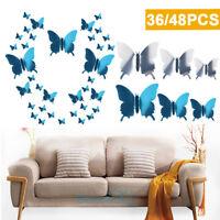 36/48x 3D Butterfly Wall Stickers Mirrored Mirror Room Sticker Bedroom Girls