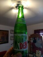 Vintage Collectible Green Mountain Dew 12 oz Glass Soda Bottle Money Back Bottle