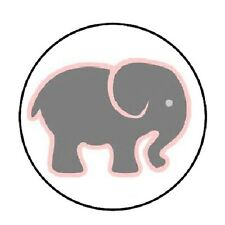 "48 Pink & Grey Elephant!  ENVELOPE SEALS LABELS STICKERS 1.2"" ROUND"