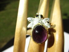 Ring Bumble Bee With Amethyst Cabochon 29- Estate Hand Made 925 Sterling Silver