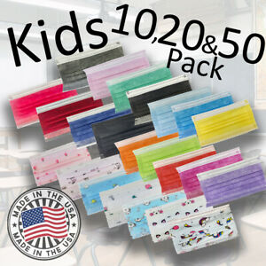 Kids 3-Ply Disposable Face Mask 20 & 50 Pack Made in USA Non Woven Polypropylene