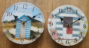 Beach hut wall clock Nautical Sea 2 styles UK seller