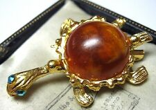 VINTAGE 1950's Quirky Turtle Tortoise Lucite & Crystal AB Jewellery Pin Brooch