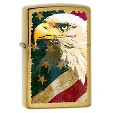 Collectable Eagle W/American Flag Brushed Brass  Zippo Lighter 76794