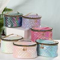 Diamond Pattern Make Up Pouch Storage Case Toiletries Bag Oval Cosmetic Box