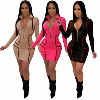 Women Long Sleeves Zipper Stripes Bodycon Club Party Casual Evening Mini Dress