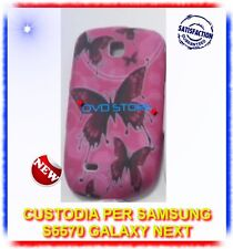 Custodia+Pellicola SFONDO ROSA FARFALLE per Samsung S5570 galaxy NEXT (B4)