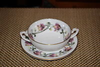 Royal Worcester Tulip Double Handle Dessert Bowl With Saucer Plate Flowers