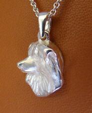 Small Sterling Silver Australian Shepherd Head Study Pendant
